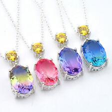 Newest Rainbow Oval Shaped Bi Color Tourmaline Gemstone Silver Necklace Pendants