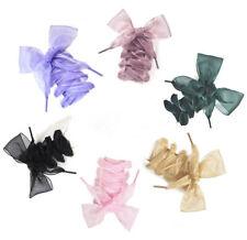 110cm Women Girls Silk Ribbon Flat Shoelaces Shoe Laces Shoestrings Sneaker Chic