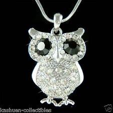 Black w Swarovski Crystal Wise Teacher Cute OWL Bird Pendant Charm Necklace Xmas