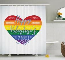 Rainbow Shower Curtain Bathroom Decor Set with Hooks 4 Sizes Available