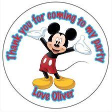 ADESIVI Personalizzati Mickey Mouse Party Bag grazie DOLCE TORTA DI COMPLEANNO -008