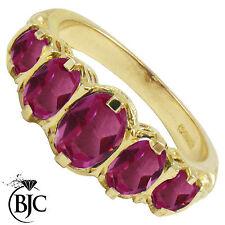 BJC 9ct ORO GIALLO VITTORIANO/Gitano stile Laurea Rosa Topazio 5 PIETRA anello