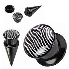 """Flesh Orecchio Tunnel Plug Barra Espansione Piercing Plastica """" 2 1 """" Nero Zebra"""