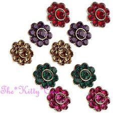 Klassischer Cluster Blumen Bunt Bling Stecker Ohrringe mit / Swarovski Strass