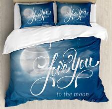I Love You Duvet Cover Set with Pillow Shams Night Sky Full Moon Print