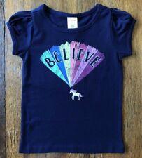 Gymboree 4T 5T Unicorn Rainbow Top Navy Blue BELIEVE Glitter Girls New
