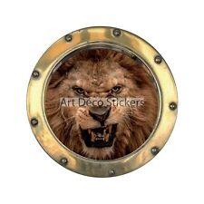 Sticker hublot trompe l'oeil Lion 1406