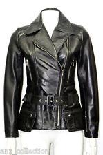Boston Black Ladies Woman's Retro Designer Real Soft Sheep Nappa Leather Jacket
