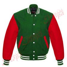 Original American Varsity Letterman College Baseball Green Wool  Leather Jacket