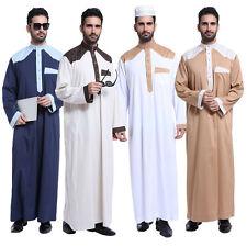 Mens Saudi Style Thobe Dishdash Jubba Arab Robe Islamic Dress Clothing Garment