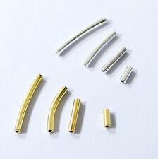 Röhrchen gerade 925er Sterlingsilber oder vergoldet gerade o gebogen 2 Stück