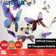 18Pcs 3D Butterfly Wall Decals Sticker Kids Art Nursery Decor Transparent AU