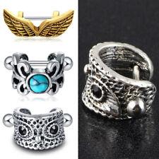 16G Surgical Steel Cartilage Cuff Earring Owl Wings Heart Turquoise Ear Piercing