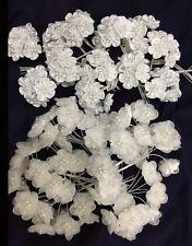 72 Flower Bridal Satin /Organza /Pearls.6 Flower x 12 /Per Bag. Pick Your Color!