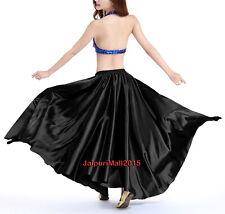 Black 360 Full Circle Satin Long Skirt Swing Tribal Belly Dance Oriental Jupe