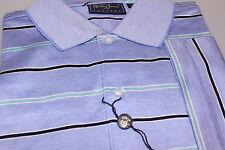 Bobby Jones Gent's 100% Cotton Golf Polo Shirt Denim Blue + Black Multi Stripe S
