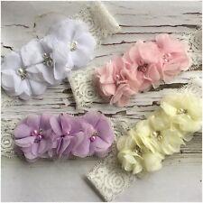 Miss ELLE- Newborn Baby Girls CHRISTENING Pearl/Rhinestone Flower Lace Headband