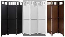 3-panel Screen Room Divider Solid Wood, Black, Walnut or White Color