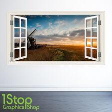 Sunset Meadow autocollant mural Fenêtre Couleur complète - chambre salon nature