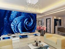3D Bule Rose Water Droplets Wall Paper Wall Print Decal Wall AJ WALLPAPER CA