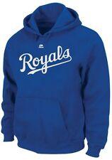 Kansas City Royals MLB Mens Majestic Wordmark Hoodie Royal Blue Big Sizes