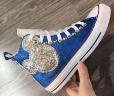converse all star chuck taylor personalizzata con topolino glitter e borchie