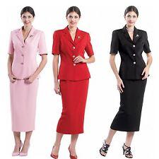 Women Formal Short Sleeve Suit  Soft Crepe Fabric ,Four Colors L 356