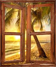 Stickers fenêtre trompe l'oeil déco Couché de soleil Palmiers réf 5205