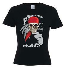 PIRATE SKULL WOMENS T-SHIRT - Pirates Fancy Dress Goth Crossbones