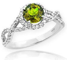 White Gold Peridot Birthstone Infinity Ring with Diamonds Engagement Wedding