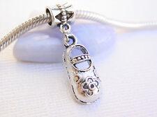 Cute 3D Silver Tone Girl Mary Jane Flower Shoe Slide Dangle Charm fits Bracelets