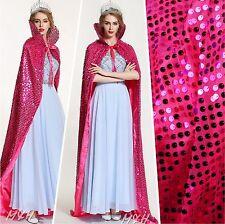 "Full Length 71"" Sequin Satin Cloak Coat Multi-color Cape Cowl Beauty Costumes"