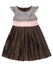 GYMBOREE CELEBRATE SPRING BROWN w/ PINK RIBBON SILK DRESS 3 4 5 6 7 9  NWT