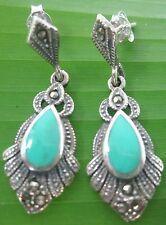 "REAL 925 sterling silver ""SWISS Marcasite Turquoise"" Studs  Earrings -GIRL WOMEN"