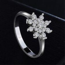 Snowflake Ring 925 Silver Women's Diamonique CZ Band Engagement Wedding Size 4-9