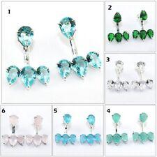 Topaz Chalcedony Quartz Silver Plated Stud Cum Jacket Earrings Handmade Jewelry
