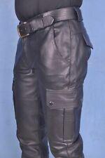 Mens Pure Cowhide LEATHER CARGO Slim Fit PANTS BIKERS PANTS