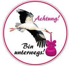 Baby Aufkleber Storch Mädchen Rund Auto Sticker Schild Hinweis Schwanger