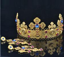Queen Headband Baroque Wedding Cosplay Cross Crown Earrings Set Rhinestone Royal