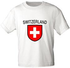 (76144) PAÍSES Niños Camiseta Talla 80-152 impresión ESCUDO SUIZA Suiza