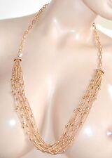 COLLANA donna LUNGA oro strass pietre anelli elegante da cerimonia collier E23