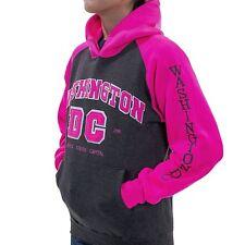 Washington DC Woman  Charcoal-pink Hoodie Embroidered letters Sweatshirt