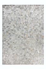 Alfombra Patchwork alfombra de diseño 100% gris plata cuero hecho a mano