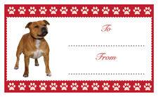 STAFFY Dog Christmas Birthday Gift labels Sticker Dog Pet Lover