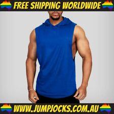 Blue Sleeveless Hoodie - Fitness, Gym, T-Shirt, Vest *FREE WORLDWIDE SHIPPING*