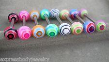 "1 PIECE 14g 5/8"" Spin Art Swirl UV Acrylic Tongue Nipple Barbell Ring #8"