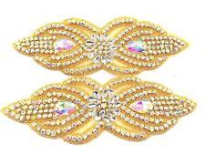 7.5 Cm Gold Ab Crystal Rhinestone Applique Sewing Iron On Bridal Diamante Patch