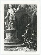 ANTIQUE ELIZABETHAN COSTUME MAN GRECIAN ROMAN STATURE MINIATURE ETCHING PRINT