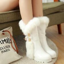 Winter Women Rabbit Fur Warm Snow Boots Furry Outdoor Hidden Heels Shoes Buckle