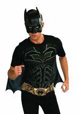 Batman T-shirt Cape & Mask Adult Costume Kit Mens Dc Comics The Dark Knight New